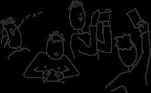 Piirroskuva, jossa useampia kännykkää näpytteleviä piirroshahmoja