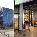 Näyttelyn rakentamista Viikin kirjastossa