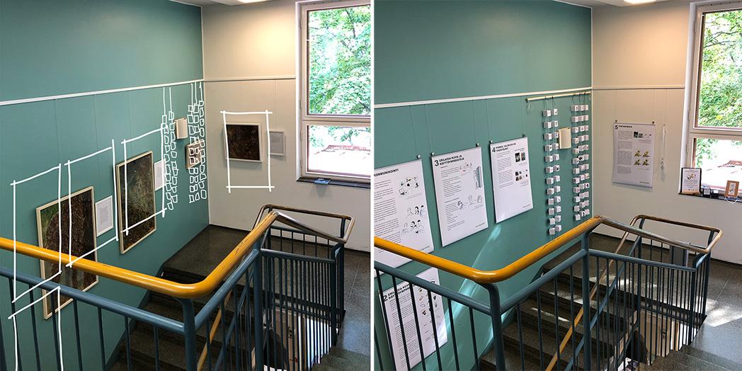 Näyttelyn ripustuksen suunnittelua Etelä-Haagan kirjastossa