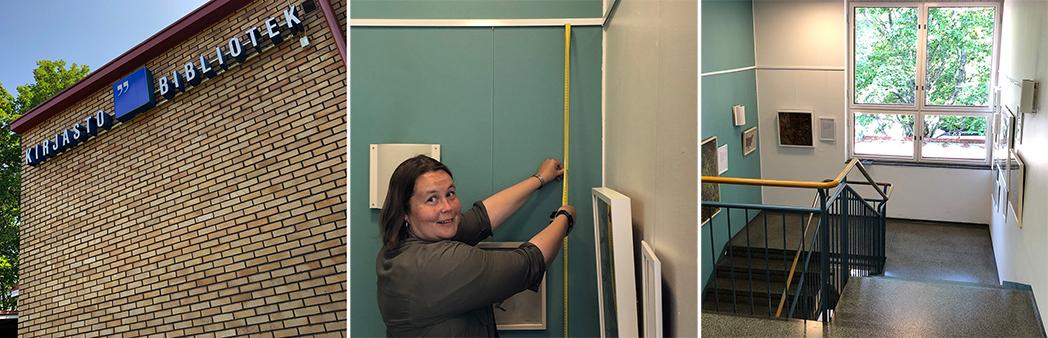 nainen ottaa mittoja seinästä tulevaa näyttelyä varten