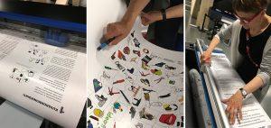 Kuvakommunikaationäyttelyn näyttelyplanssien tulostusta kaupunkikirjasto Oodissa