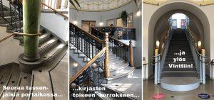 Grafiikalla varustetut reittiohjeet siitä kuinka liikkua Kallion kirjaston ylimmän kerroksen näyttelytilaan