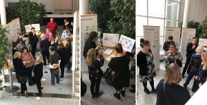Näyttelyvieraita Helsingin Valkeassa talossa