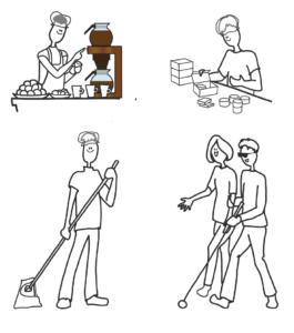 Hahmoja tekemässä erilaisia tehtäviä esimerkiksi keittämässä kahvia ja siivoamassa.
