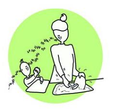 Lapsen ja vanhemman välistä vuorovaikutusta keittiöpuuhien lomassa