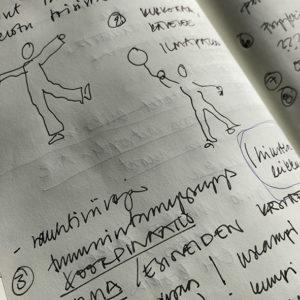 Kuvassa näkyy piirtäjän muistiinpanoja ja luonnospiirroksia.